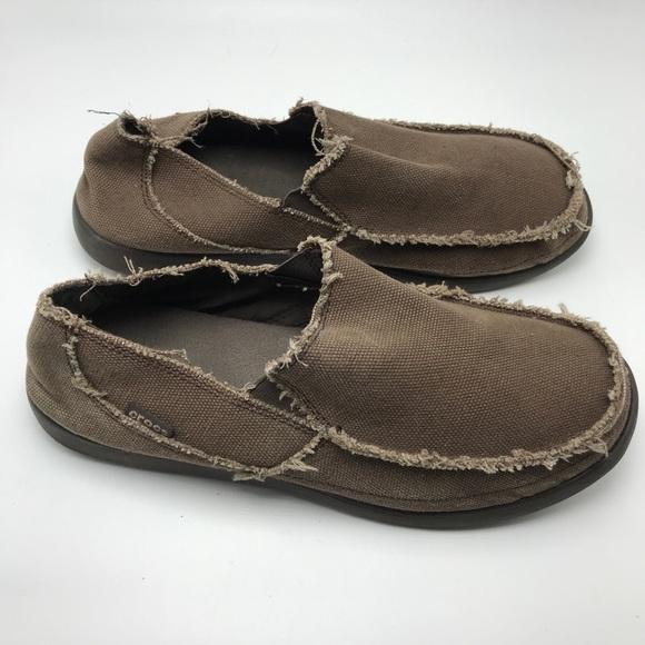 2c5f1c595e1073 CROCS Other - Men s Crocs Santa Cruz Brown Canvas Loafers Sz 12